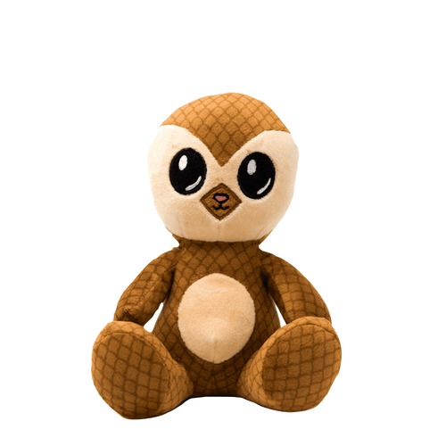 A smiling anthropomorphic pangolin sits. It's body is a darker tan, with stitching that mimics scales, and has a soft cream tummy and face. It's eyes are large and black.