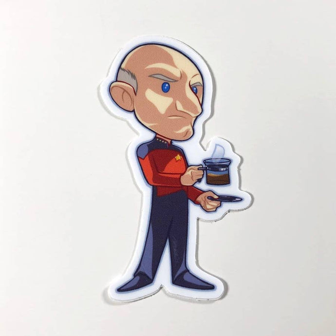 a caricature of Picard from Star Trek, he is frowning and has a cup of coffee in one hand and a saucer in the other