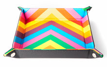 Load image into Gallery viewer, Rainbow solid lines square velvet dice tray.