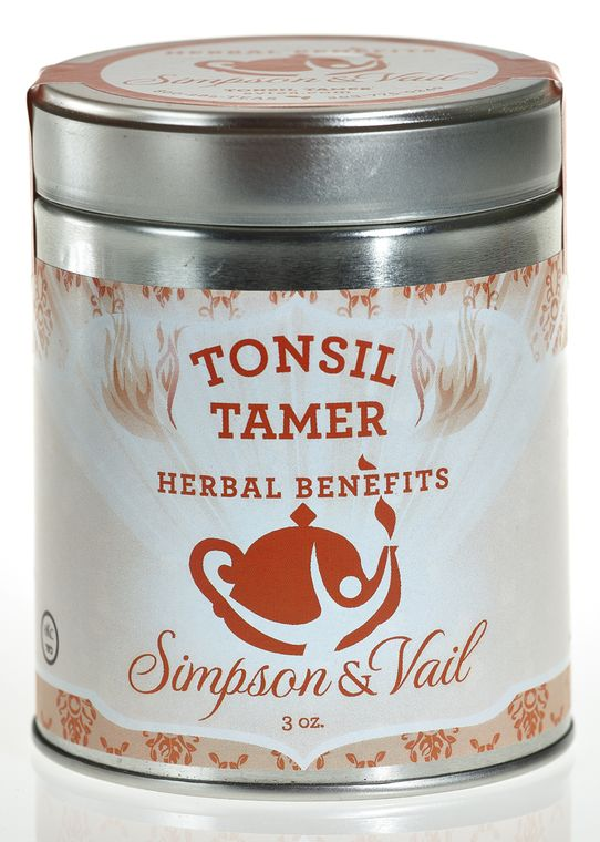 Reusable tin containing loose leaf tea including: Organic licorice root, slippery elm, organic ginger root, organic cinnamon, and orange peel. Slippery elm is not suitable for people who are pregnant. Color-coded burnt orange with a bold font.