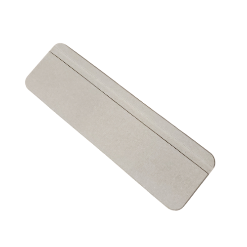 Plain gray oblong tray with a groove for drainage along one side.