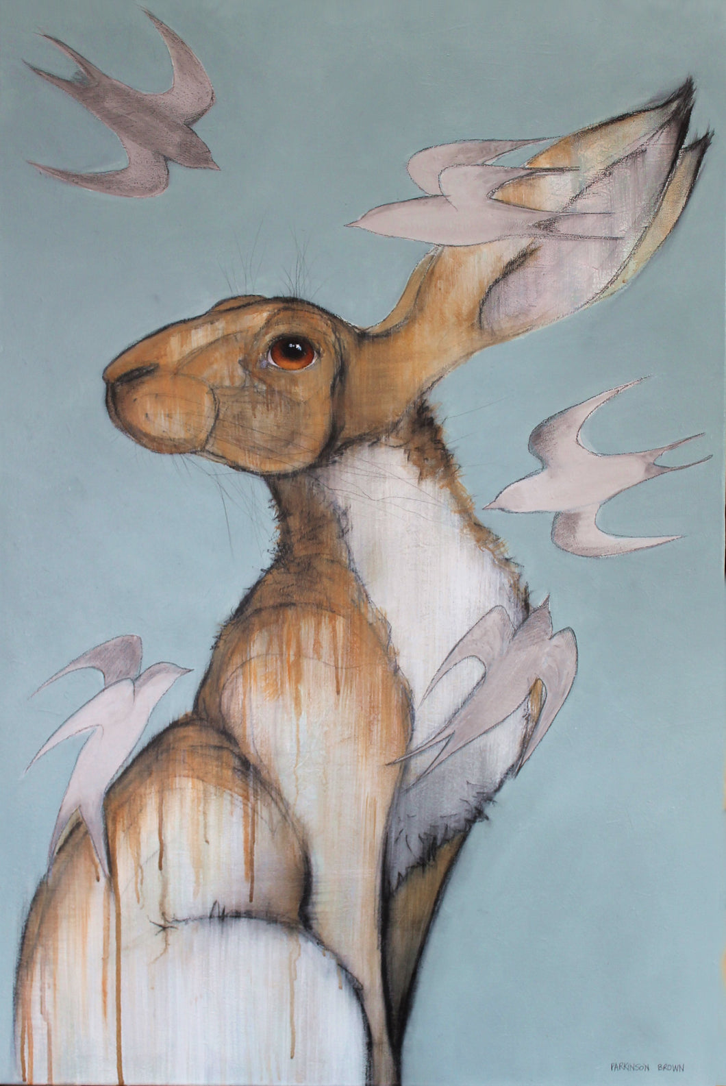 Hare with swallows