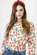 Blusa estampado floral manga larga cut off escote