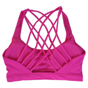 Fitness Sports Bra for Women Push Up Solid Cross Back - AthleisuRE