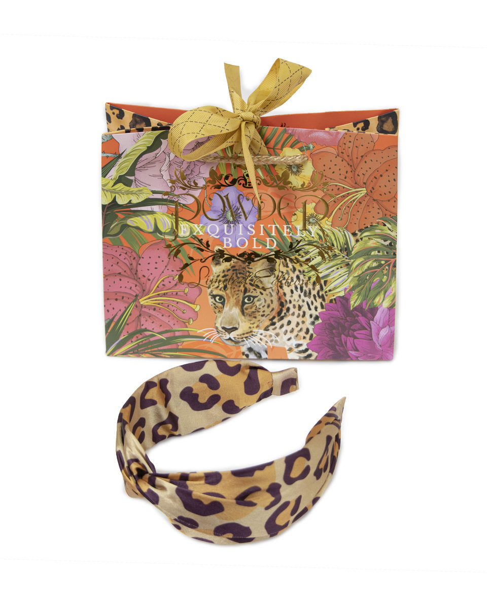 Satin Headband In A Gift Bag - Leopard Print