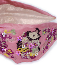 Load image into Gallery viewer, Satin Embroidered Headband With Gift Bag - Hedgehog