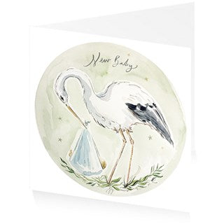 Baby Boy Card With Stork