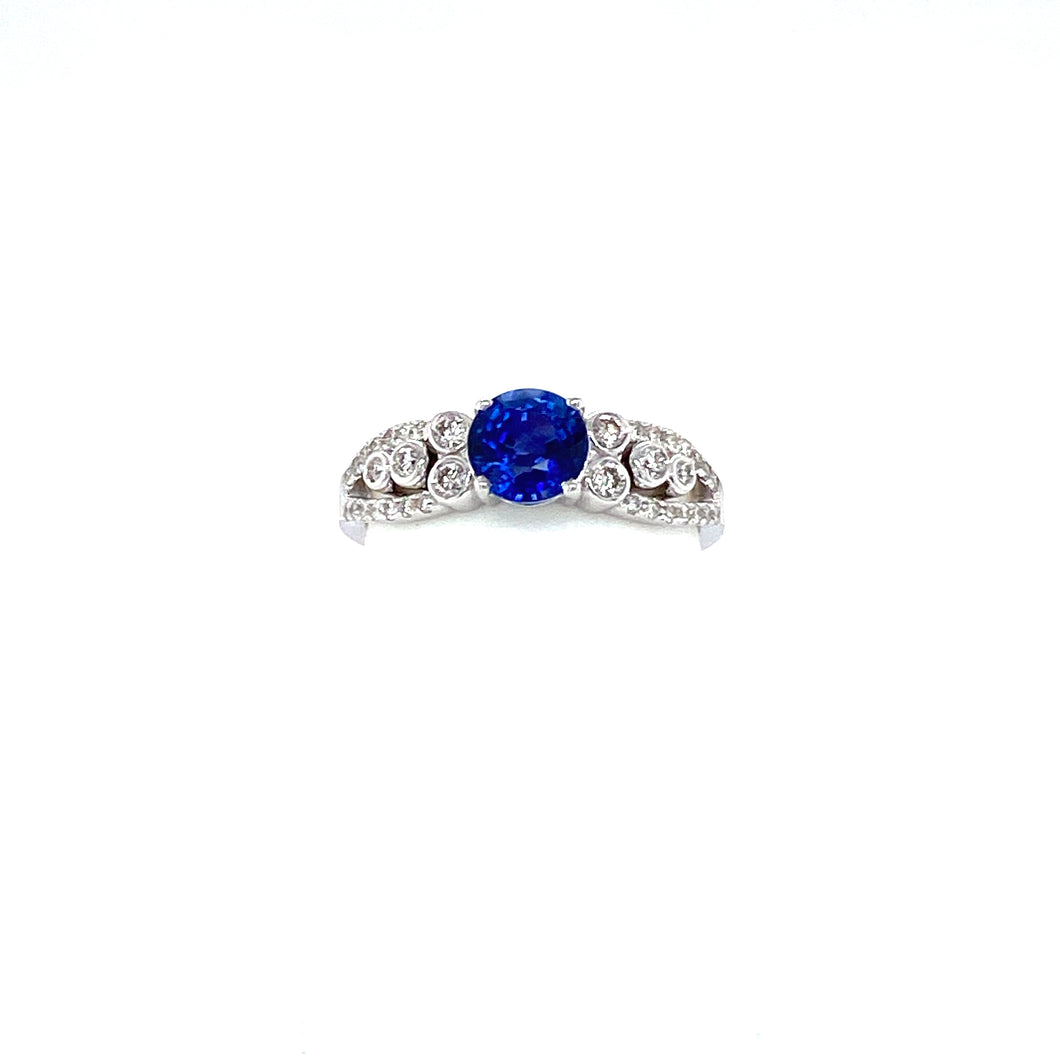 Vintage 14k White Gold Blue Sapphire and Diamond Ring