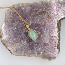 Load image into Gallery viewer, Jadeite Cabochon 14k Yellow Gold Pendant with Chain