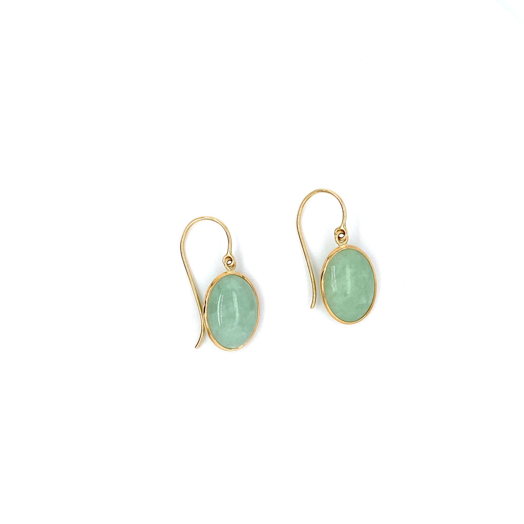 Jadeite Cabochon 14k Yellow Gold Dangle Earrings