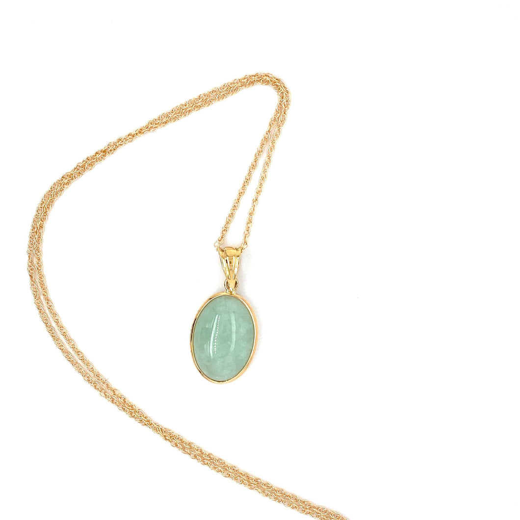Jadeite Cabochon 14k Yellow Gold Pendant with Chain