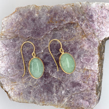 Load image into Gallery viewer, Jadeite Cabochon 14k Yellow Gold Dangle Earrings