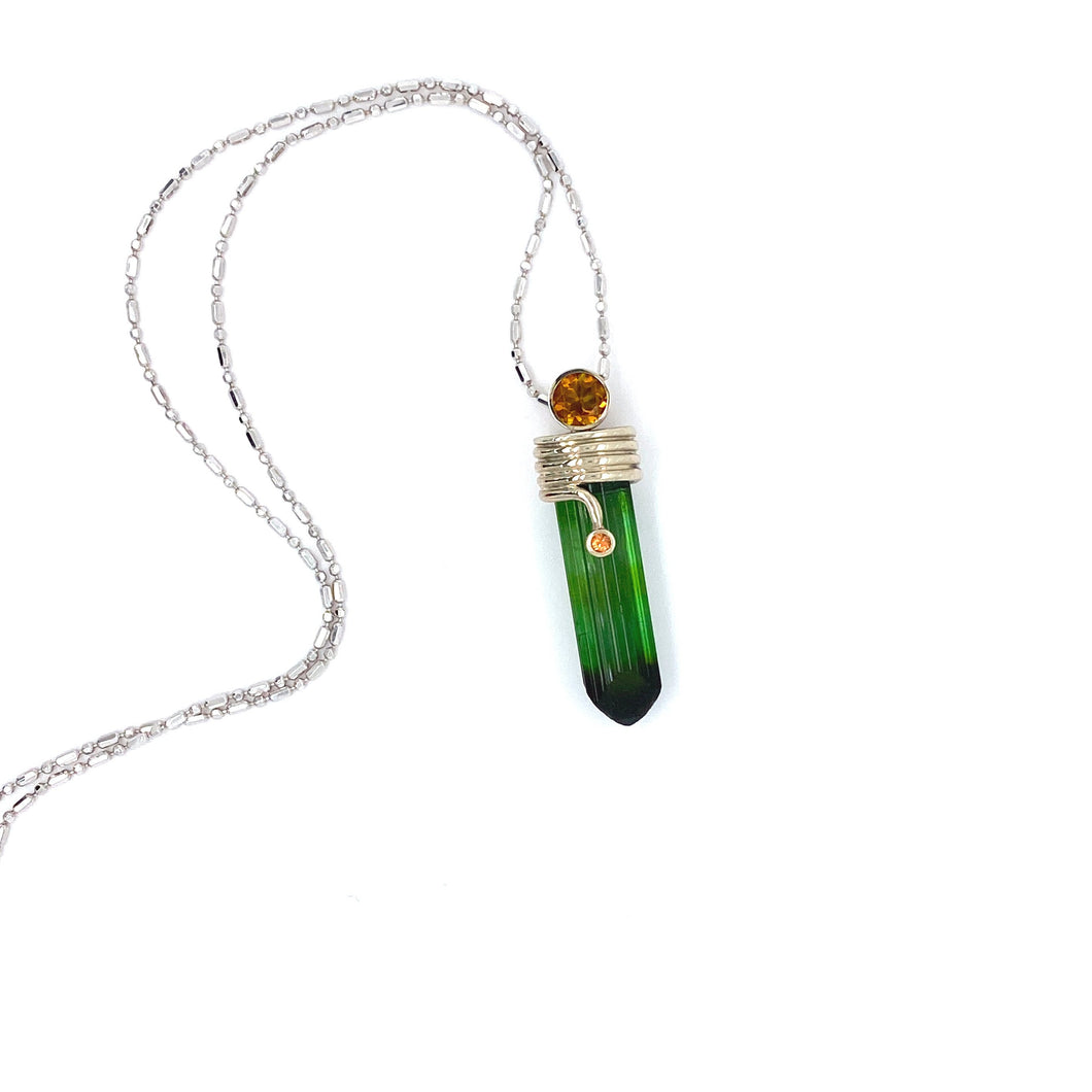 14k White Gold Capped Green Tourmaline Crystal Pendant