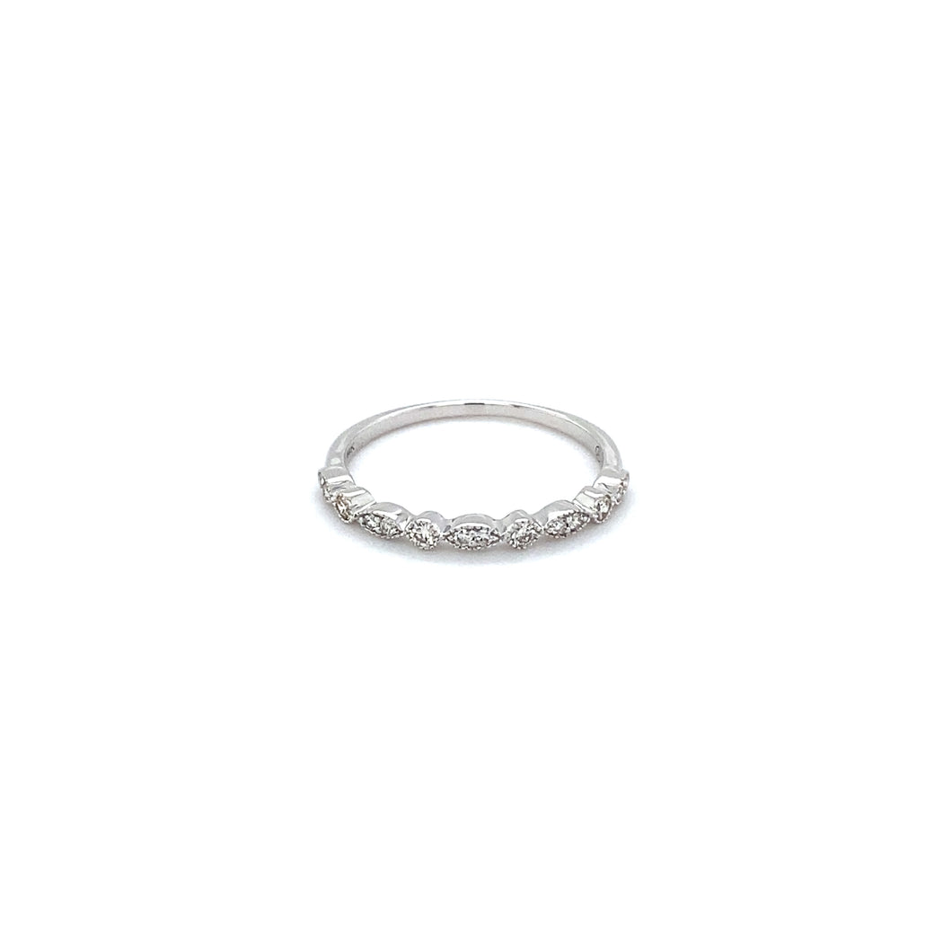 Vintage Diamond 14k White Gold Band