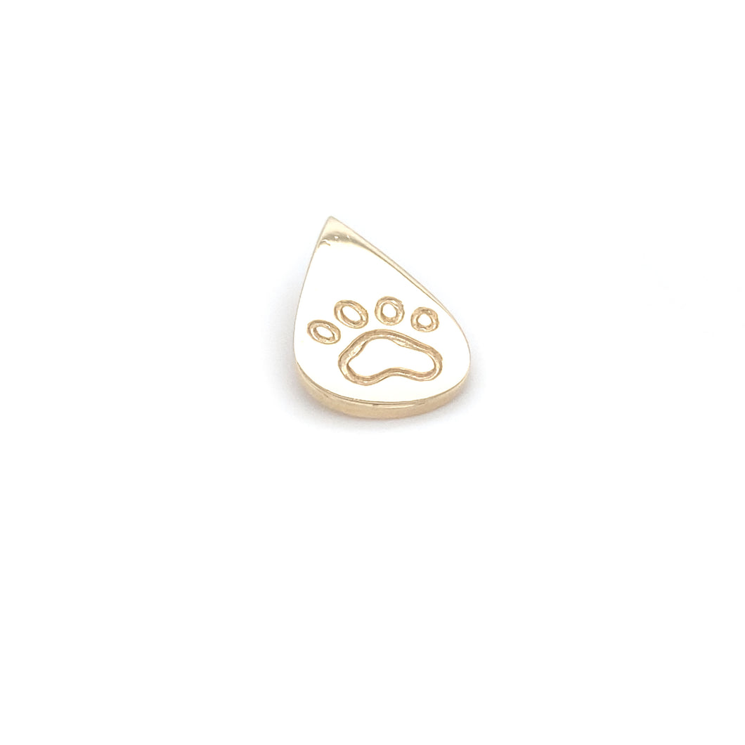 Teardrop 14k Yellow Gold Paw Charm