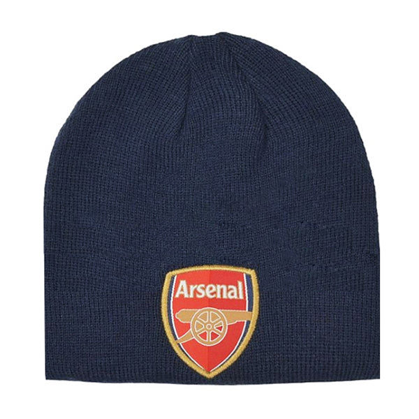 ARSENAL FOOTBALL CLUB KNITTED BLUE BEANIE WITH CLUB CREST
