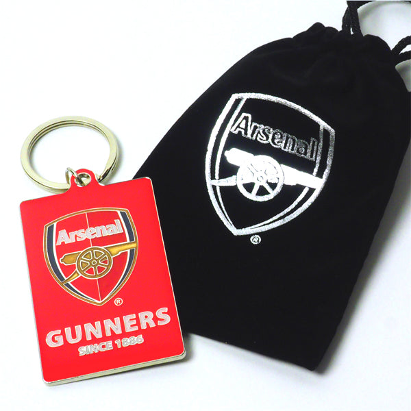 ARSENAL FOOTBALL CLUB CREST METAL KEYRING - IN GIFT BAG