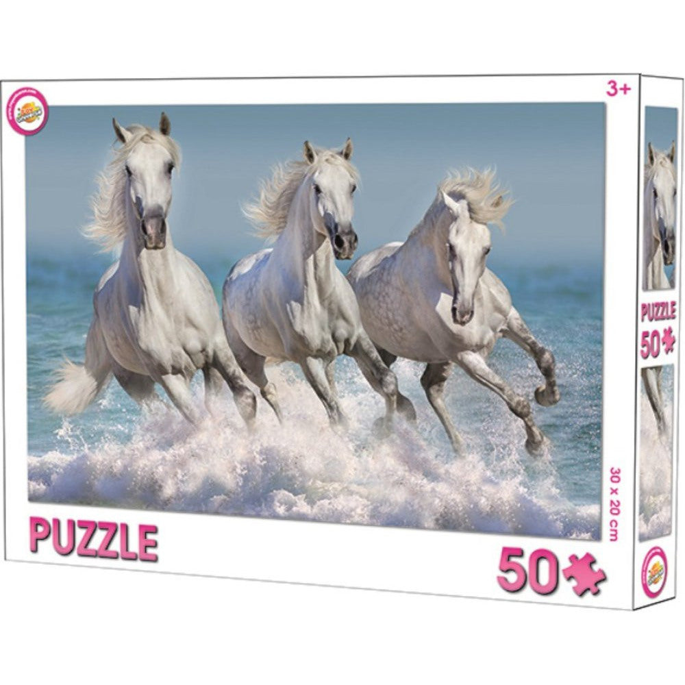 GALLOPING WHITE HORSES PUZZLE 1 SET OF 50 PIECES