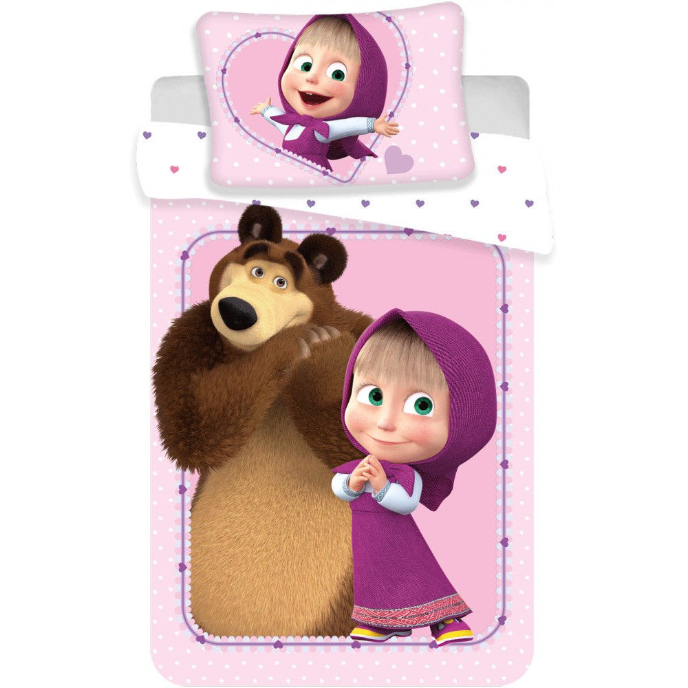 MASHA AND THE BEAR CHILD SIZE DUVET COVER SET - 100% COTTON