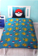 Load image into Gallery viewer, POKEMON PIKACHU SINGLE COTTON DUVET COVER SET