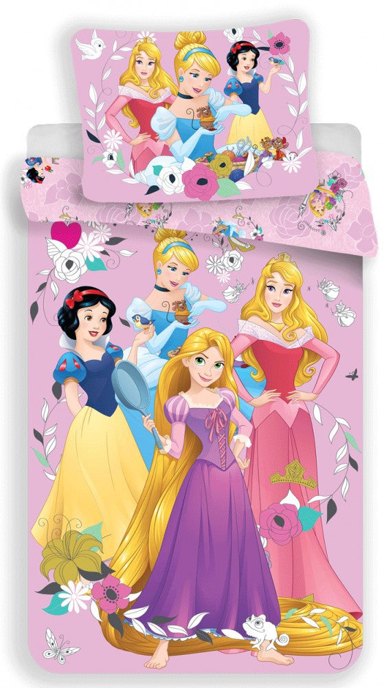 DISNEY PRINCESS SINGLE DUVET COVER SET 140 x 200 cm 100% COTTON