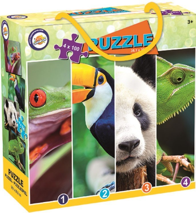 ANIMAL PUZZLES 4 x 100 pieces. 38 x 28.5 cms. Frog, Toucan, Panda, Chameleon