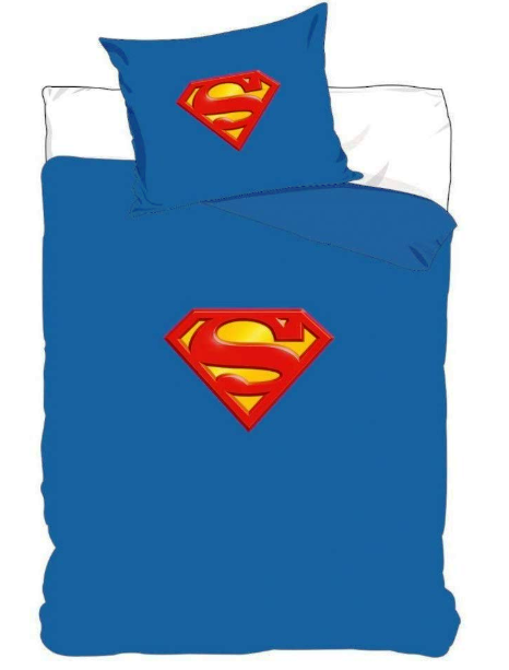 DC COMICS SUPERMAN LOGO SINGLE DUVET COVER SET - 100% COTTON