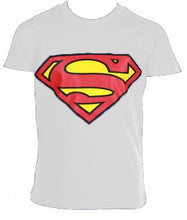 Load image into Gallery viewer, DC COMICS SUPERMAN LOGO KID'S T-SHIRT COTTON White/Blue 6 Sizes Aged 6-12 Boys