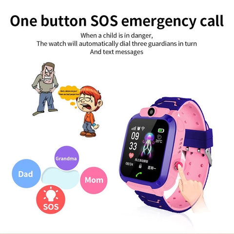 Smartwatch Copii S567, SIM, Monitorizare Locatie, Intercom, SOS, Camera, Microfon roz
