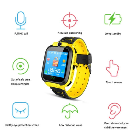 Smartwatch Copii S569, SIM, Monitorizare Locatie, Intercom, SOS, Camera, Microfon galben