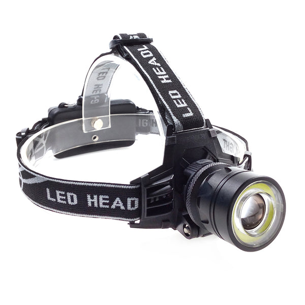 Zoomable Single Cree LED and COB Head Lamp - Rechargeable Type 2
