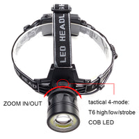 Zoomable Single Cree LED and COB Head Lamp - Rechargeable
