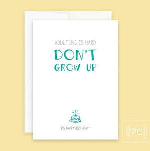 Don't Grow Up Card - Prairie Chick Prints