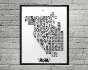 Red Deer Map - Damon D Chan Map Designs