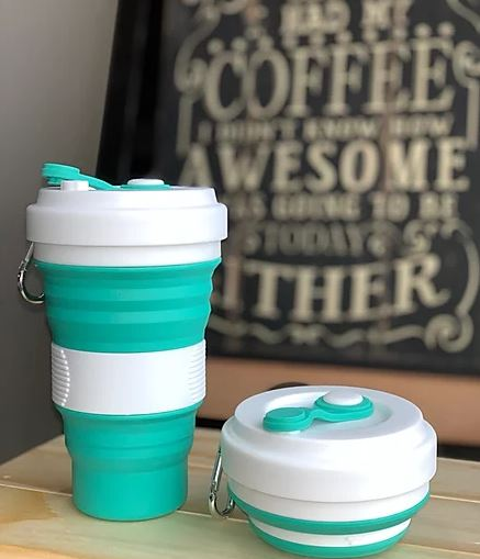 White / Teal  Coffee Cup - Love Thy Planet