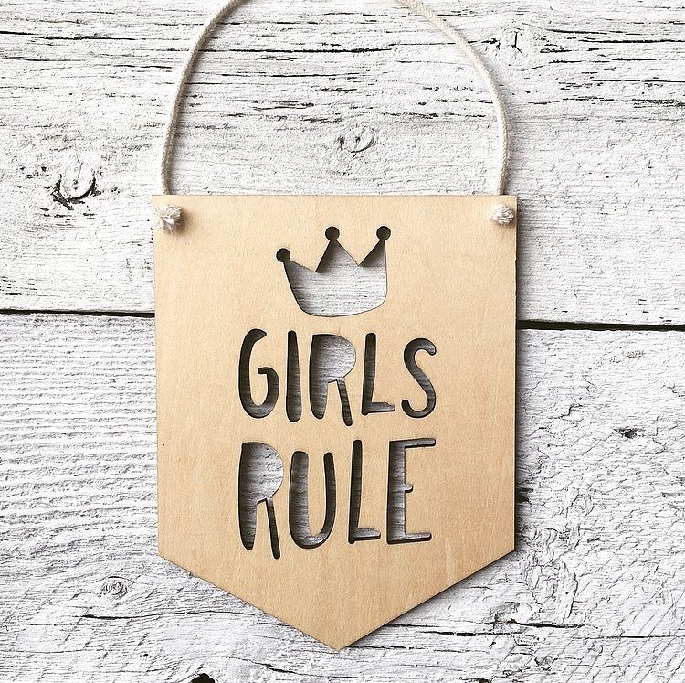 Girls Rule Wall Flag - Etch'd Designs