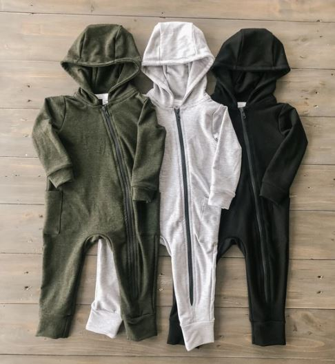 Forest Green Hooded Bamboo Zip Romper - Darling Designz