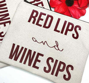 'Red Lips & Wine Sips' Make Up Bag - Love Jupiter
