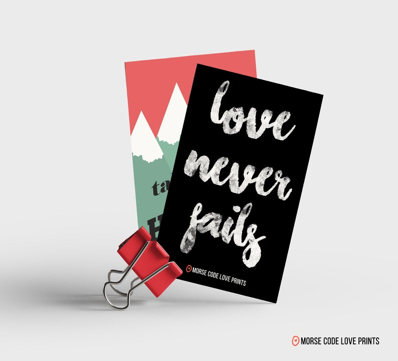 Love Never Fails Magnet - Morse Code Love Prints