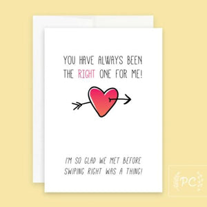 The Right One For Me Card - Prairie Chick Prints