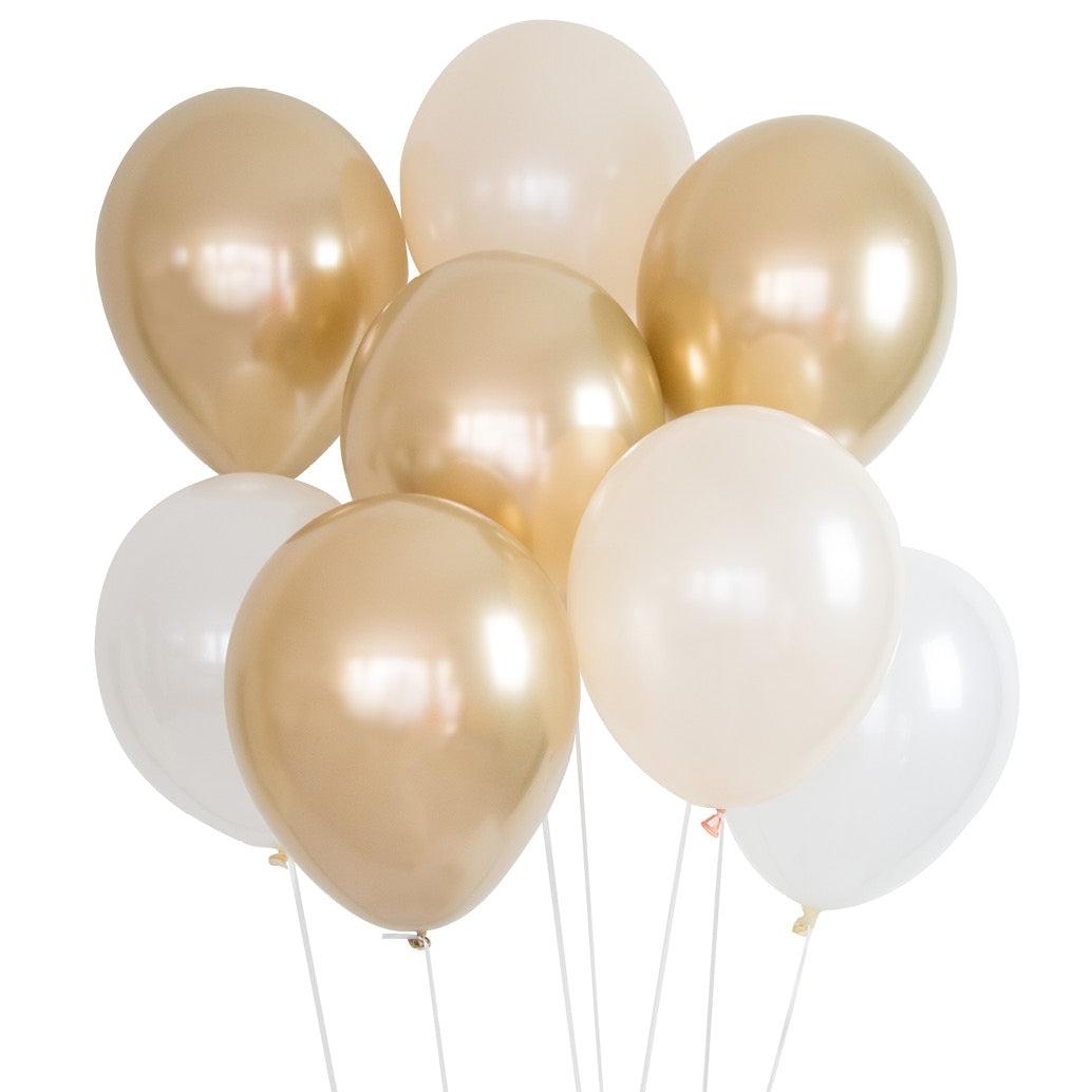 Balloon Bouquet - Pack of 8 - Gold & White