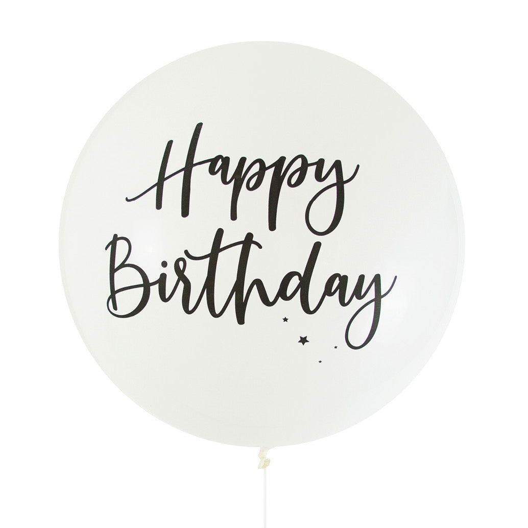 Balloon Jumbo Round Printed Happy Birthday - White With Black Print