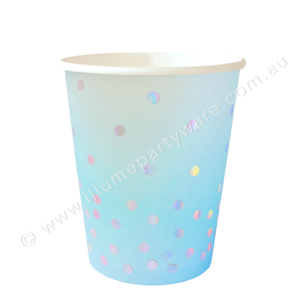 Blue Iridescent Cup - Pack of 10 - 9OZ (300ml)