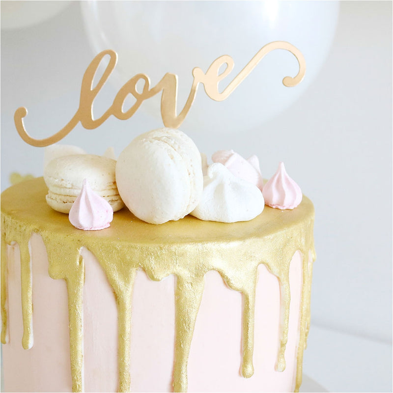 Cake Topper - Love - Gold 1 Pce