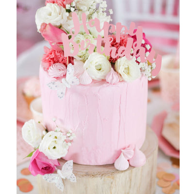 Cake Topper - Happy Birthday - Pink Foil