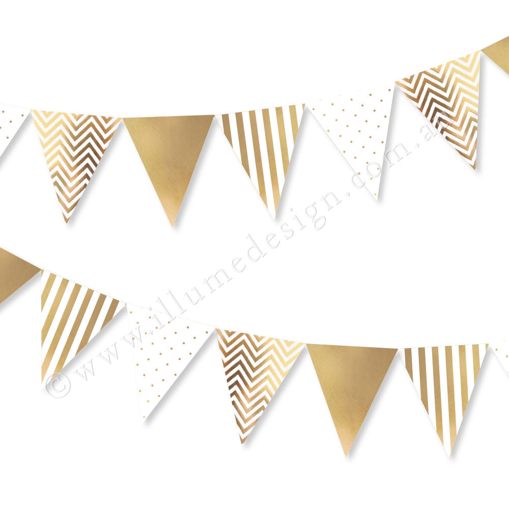 Gold Spots, Stripes & Chevron Bunting