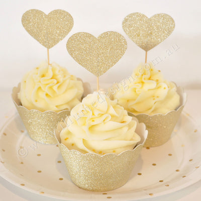 Gold Glitter Cupcake Wrapper - Pack of 12