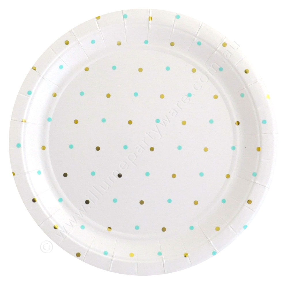 Gold & Mint Dots Large Plate - Pack of 10