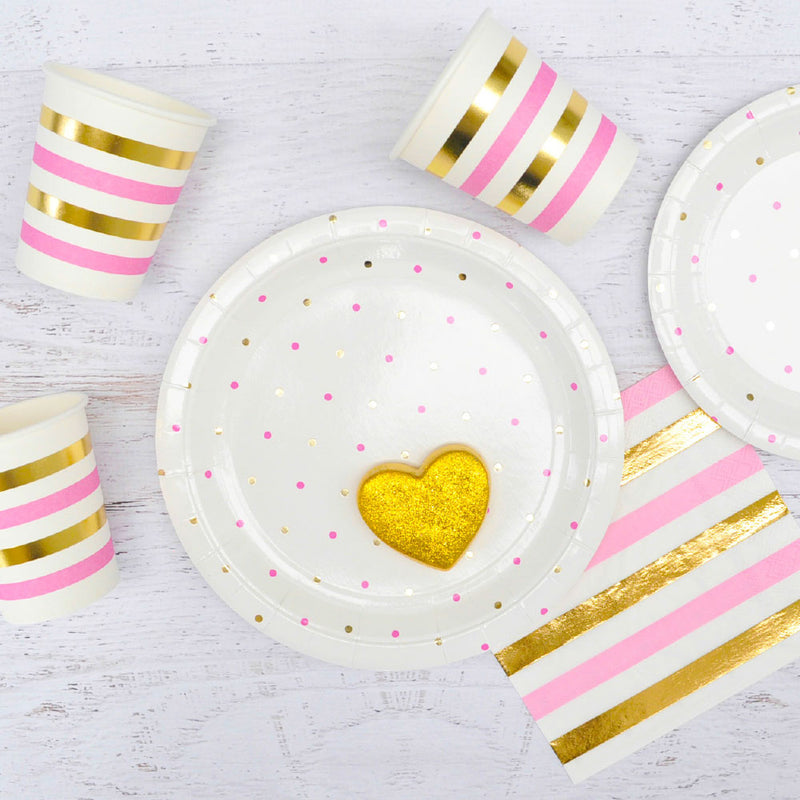 Gold & Pink Dots Large Plate - Pack of 10