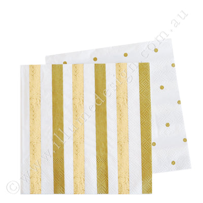 Gold Stripes & Dots Cocktail Napkin - Pack of  20